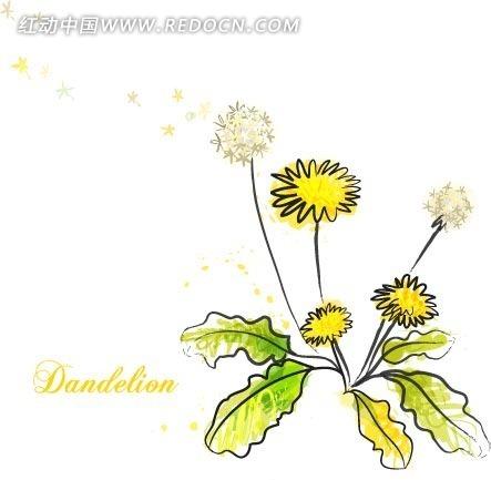绿色叶子 花朵 花瓣 手绘插画文件 植物素材  花纹 花纹素材 花边