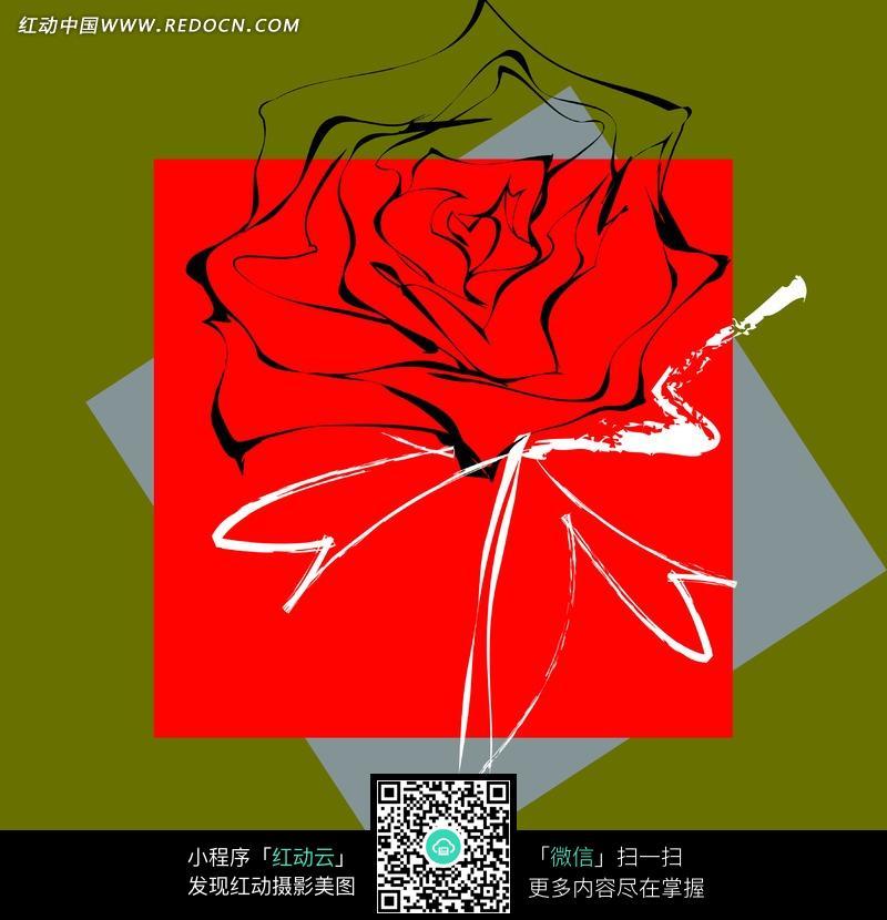 免费素材 图片素材 背景花边 底纹背景 蓝色和红色卡纸上的手绘玫瑰花