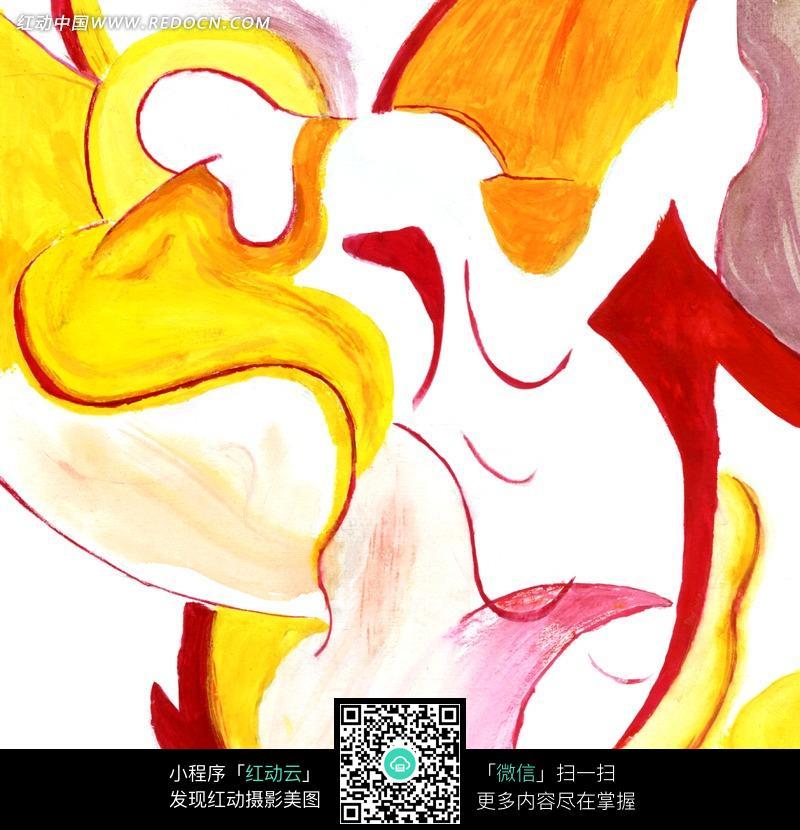 暖色人体抽象艺术画图片