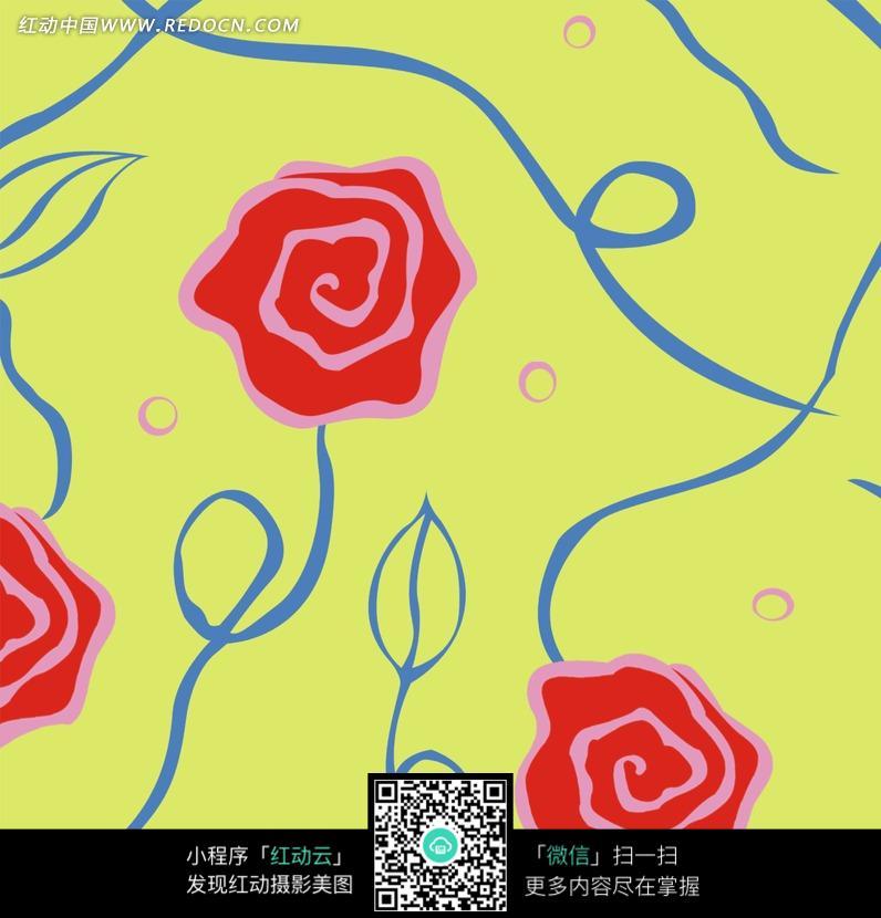 素材下载 图片素材 背景花边 底纹背景 > 手绘复古玫瑰花纹图片