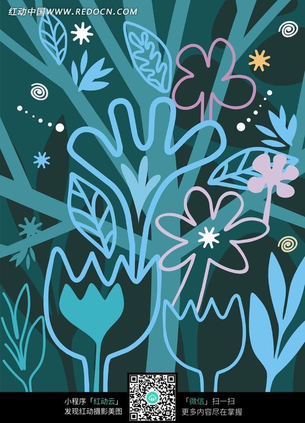 蓝色背景上的卡通树形图案图片