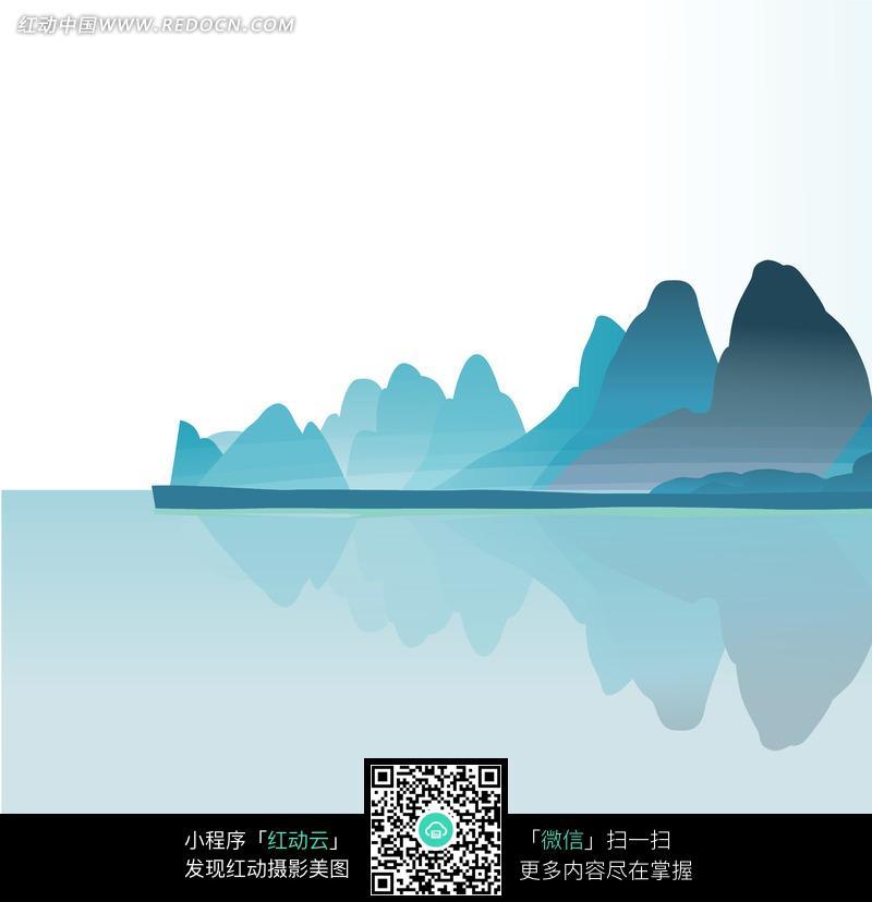 手绘水墨山湖景色图片