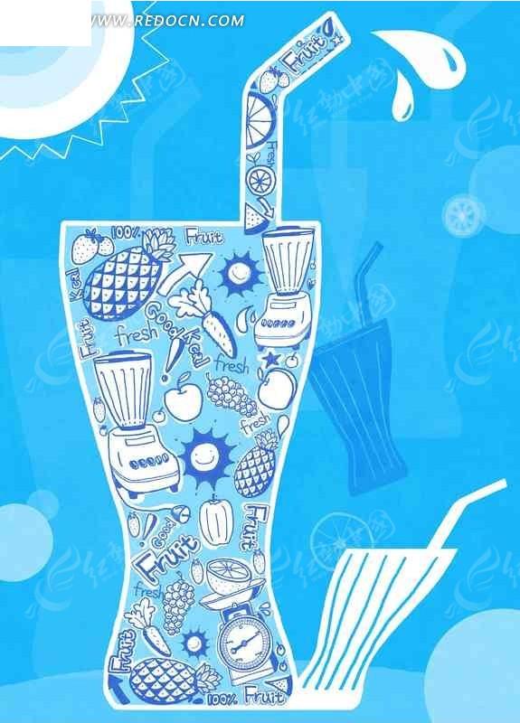 果汁瓶里面的卡通手绘图案_底纹背景