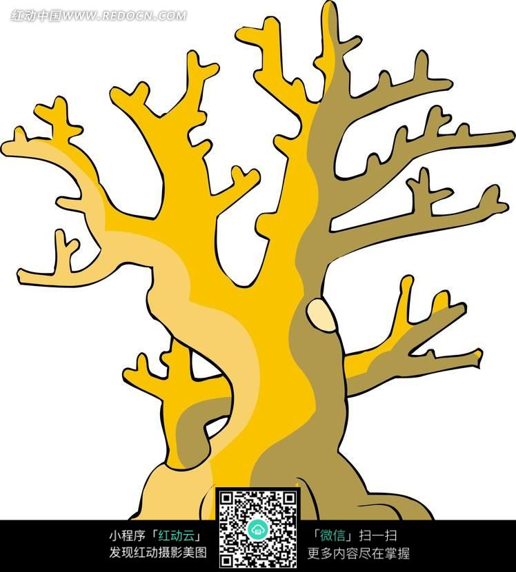 手绘树木树干