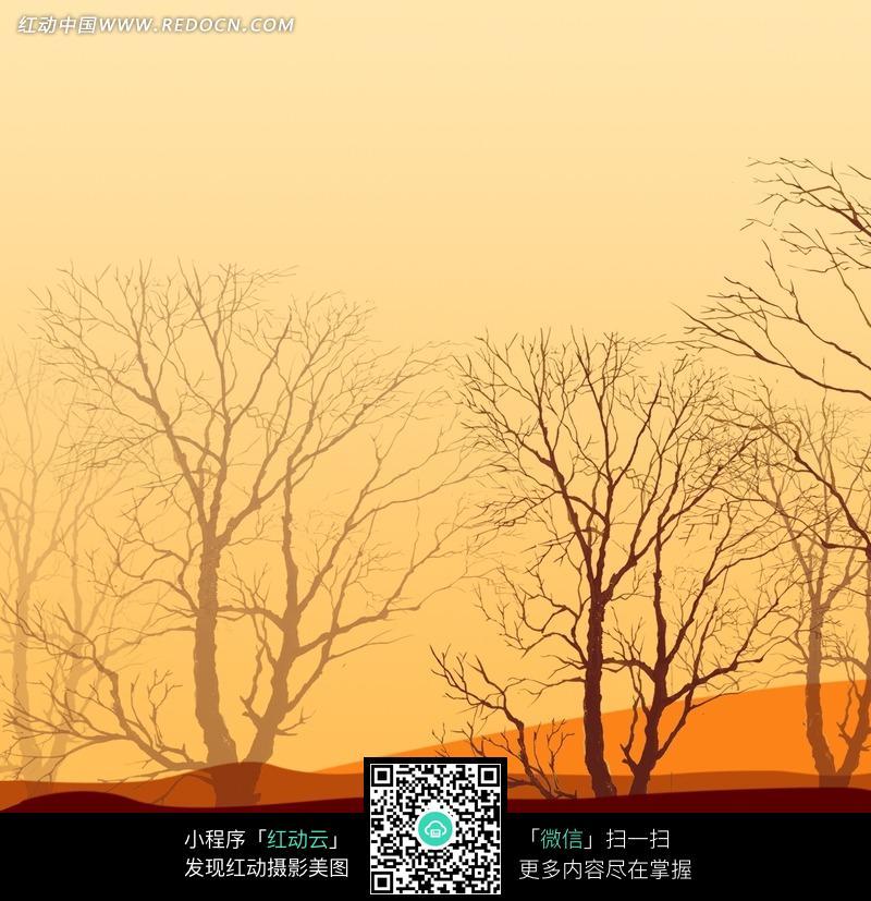 手绘夕阳郊野树影图片
