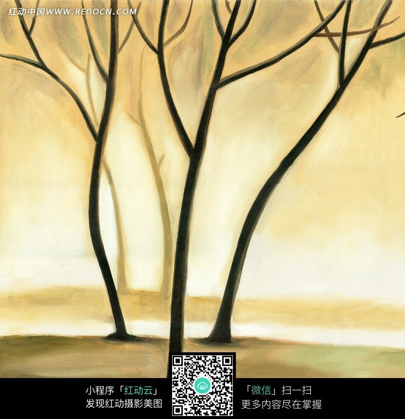手绘树枝背景图片_花草树木图片