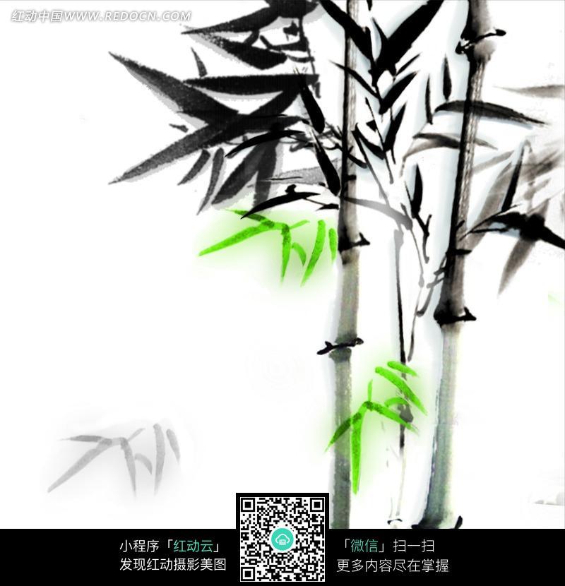 黑色竹子上的几片绿色竹叶写意画图片