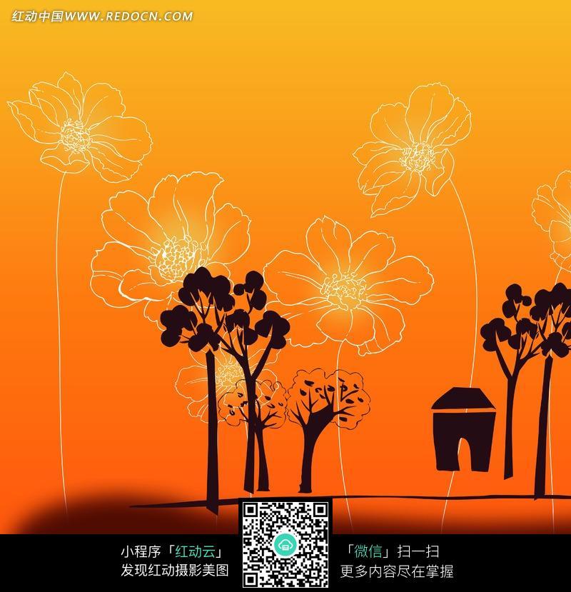 插画树木房屋和花朵图片