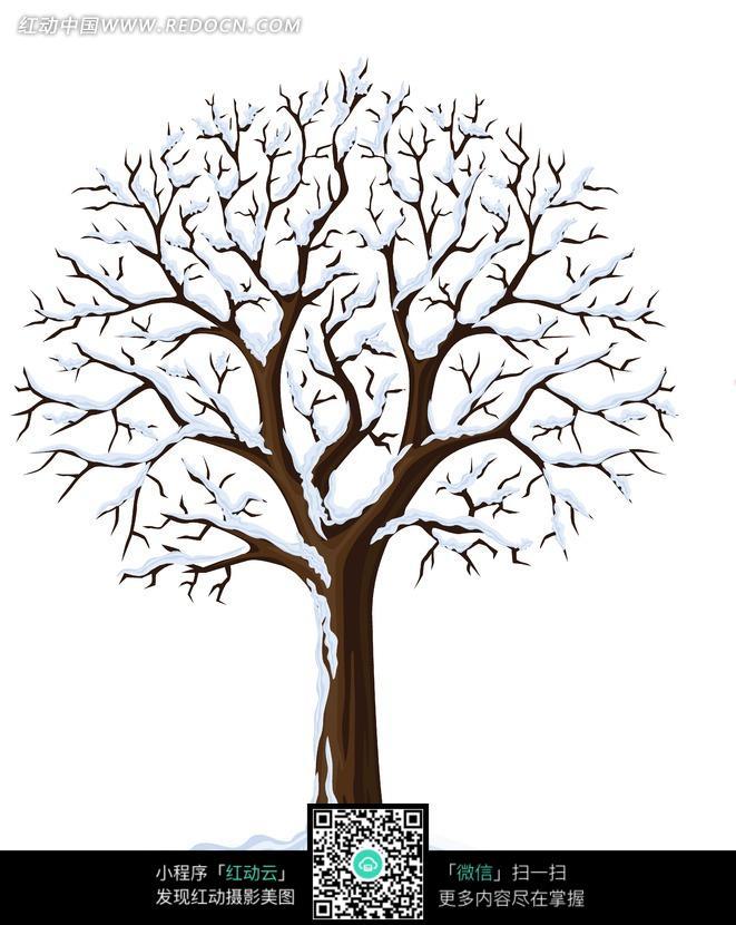 手绘挂满雪的树木图片图片