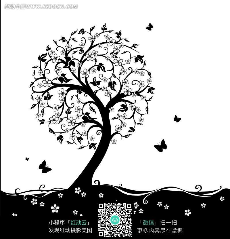 上的花朵和黑色蝴蝶插画图片