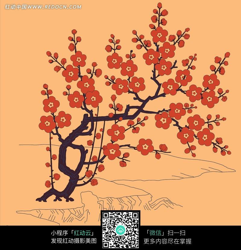 黑色树干上的红色梅花插画图片