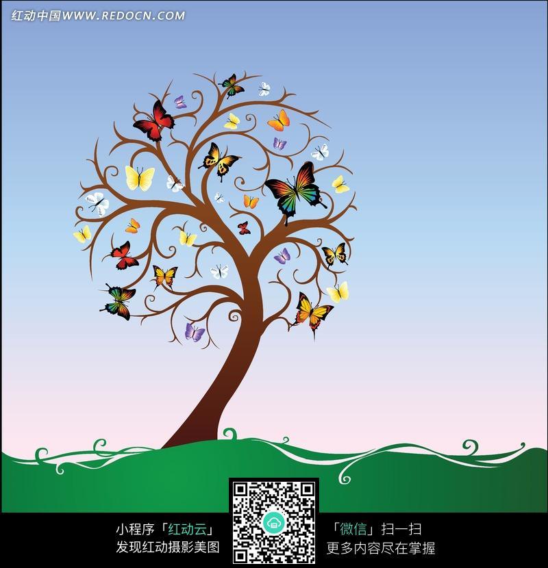 褐色树干上彩色蝴蝶插画图片免费下载 编号1225779 红动网