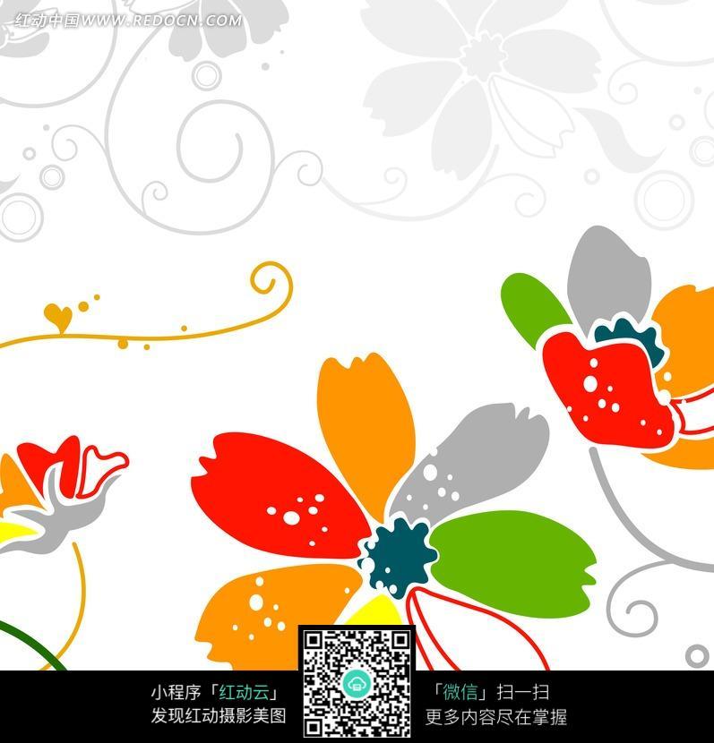 七色花瓣花朵插画