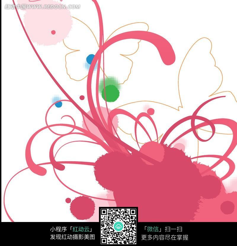 粉色藤蔓和蝴蝶