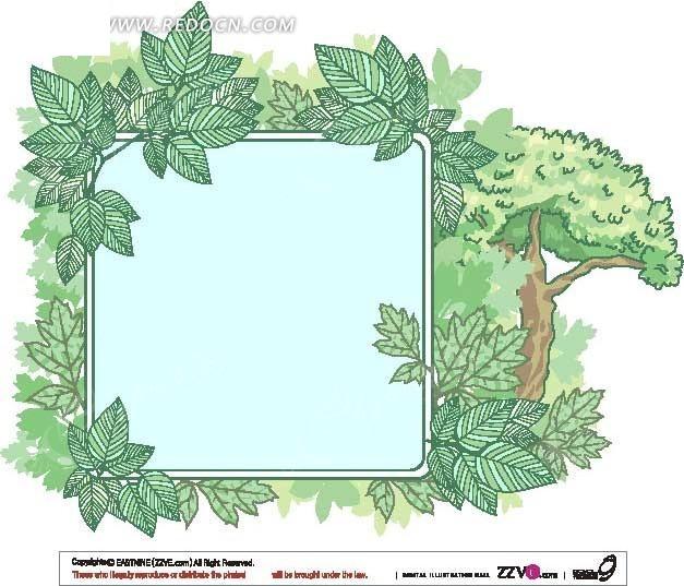 免费素材 矢量素材 花纹边框 花纹花边 手绘线条绿叶大树装饰的展板