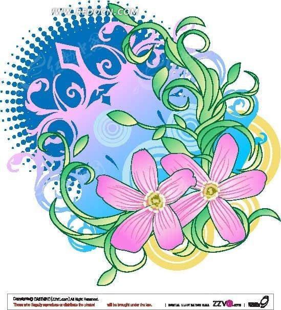 手绘花朵藤蔓潮流元素图案