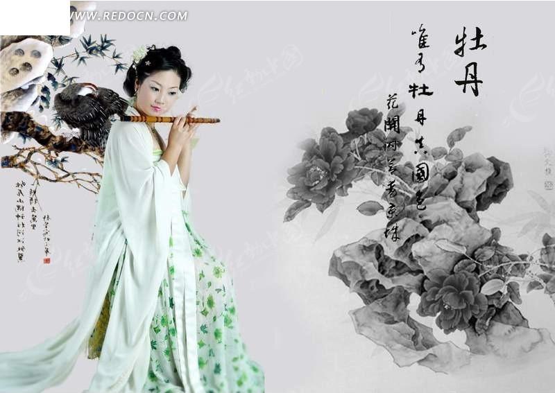 吹笛子的古典美女
