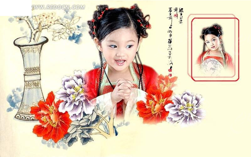 可爱小女孩古装艺术写真psd分层素材
