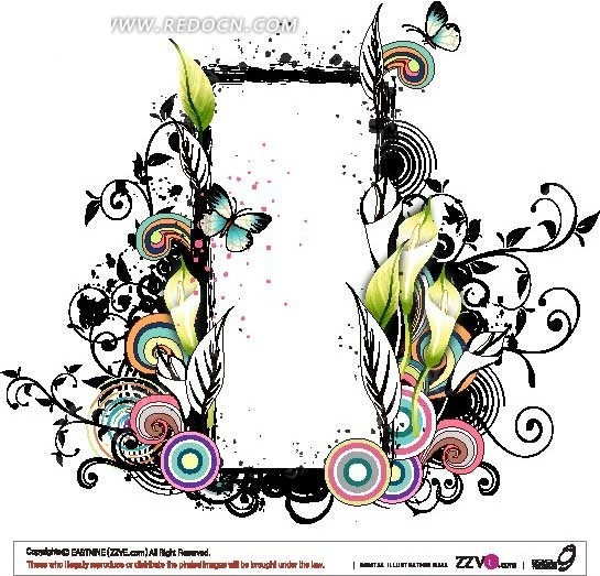 时尚圆圈花卉装饰长方形边框
