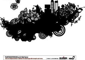城市与单色花卉
