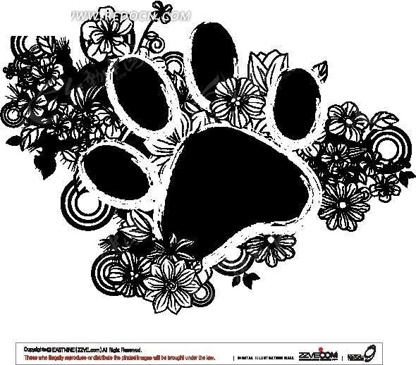 单色圆圈与花朵背景动物爪痕边框ai矢量文件图片