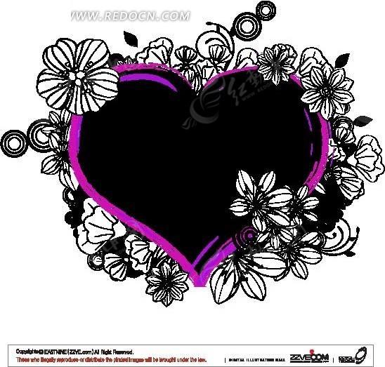 黑白线条花朵环绕粉框心形花纹ai矢量文件