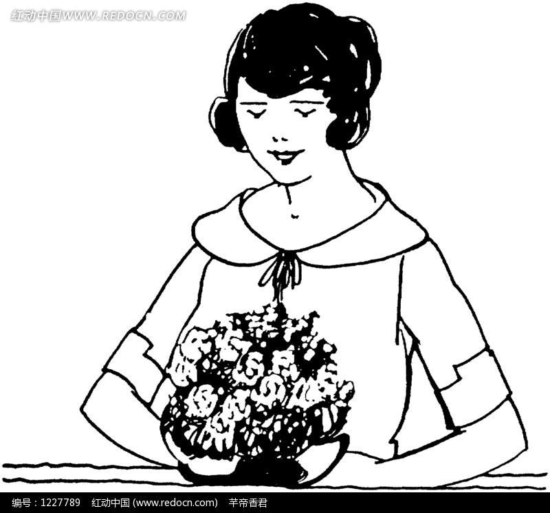 手捧菊花的女孩插画图片素材