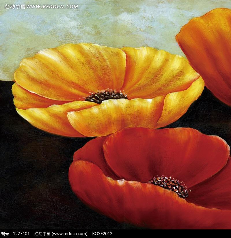 手绘橙色花朵和黄色花朵图片