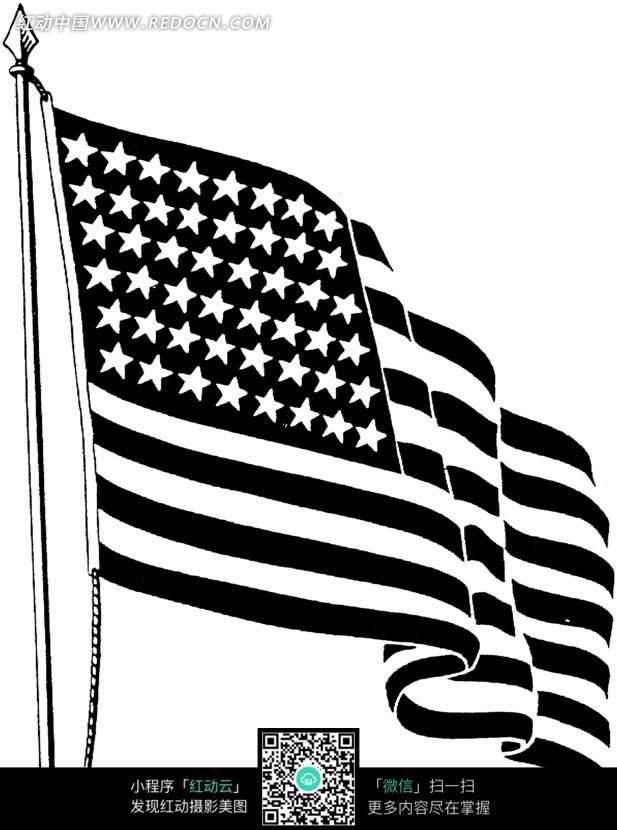 黑白色美国国旗_人物卡通图片