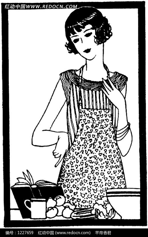 女子 卷曲 短发 翻开的书本 图案 黑白 卡通人物 漫画人物 人物绘画