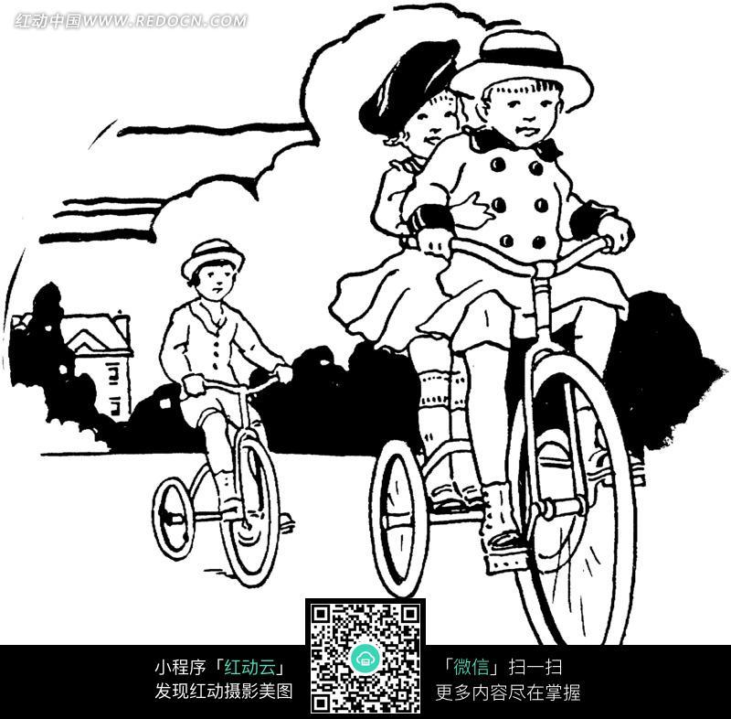 免费素材 图片素材 漫画插画 人物卡通 黑白骑自行车的孩子插画