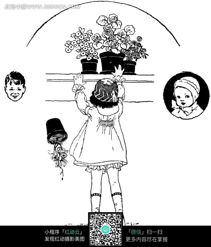 黑白插画垫脚拿花盆的女孩_人物卡通图片