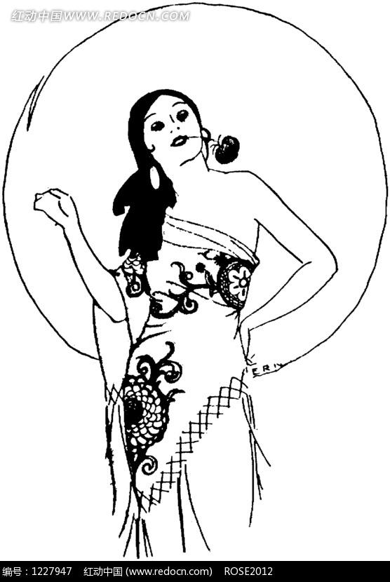 一个嘴叼着鲜花的女人图片