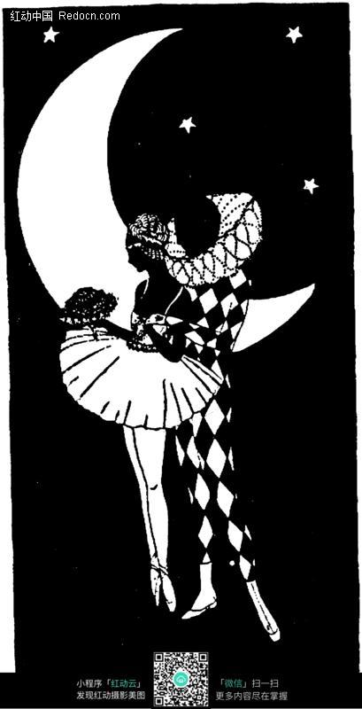 黑白月亮旁抱在一起的一对男女图片