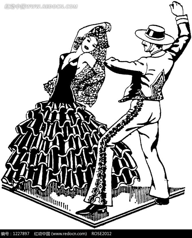 跳舞的男女黑白插画图片