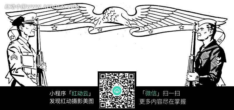 解放军人物插画设计