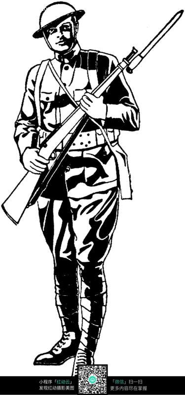 拿枪的战士黑白插画_人物卡通图片