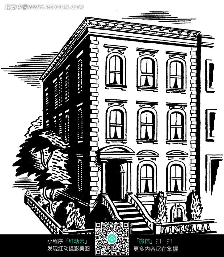 平顶的欧式别墅插画图片
