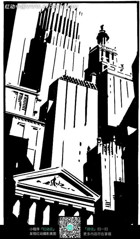 黑白画 欧式建筑房屋图片