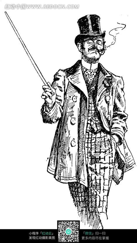 拿着棍子抽烟的的男人插画