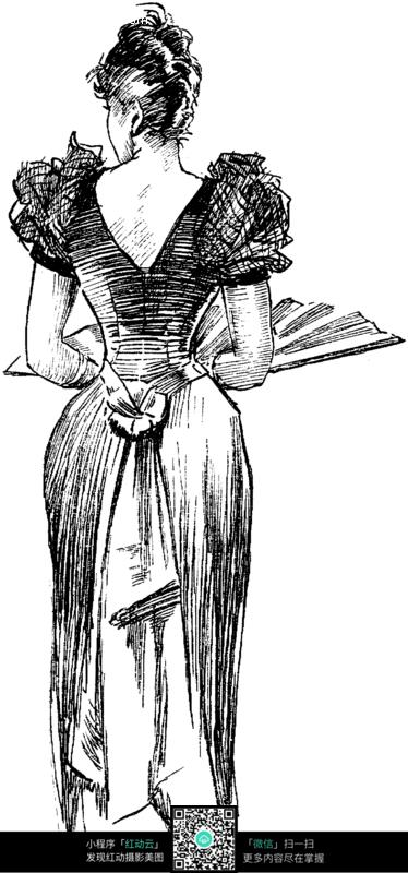 拿扇子的女人背影插画