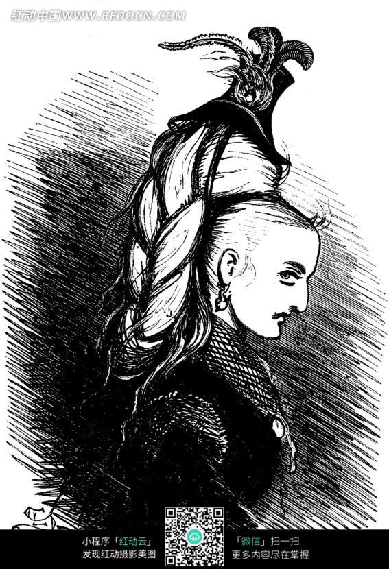黑白画 把头发弄的高高的欧美女人图片