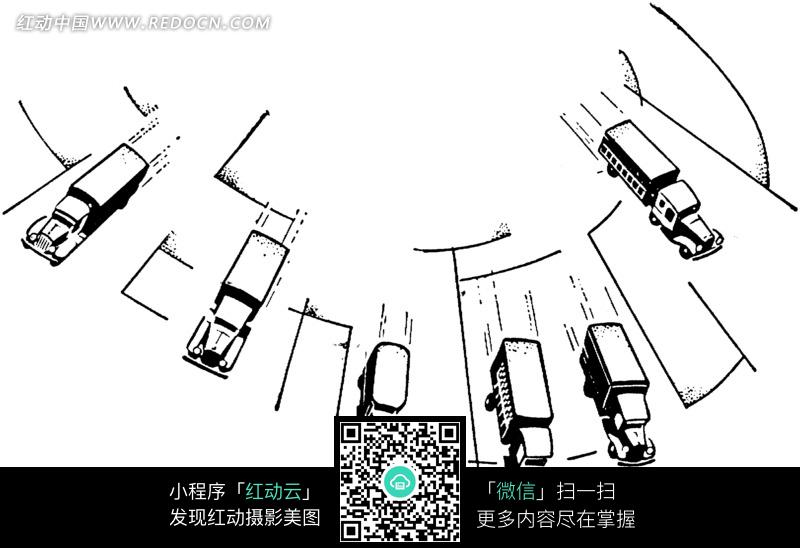 六辆大卡车手绘线稿图图片