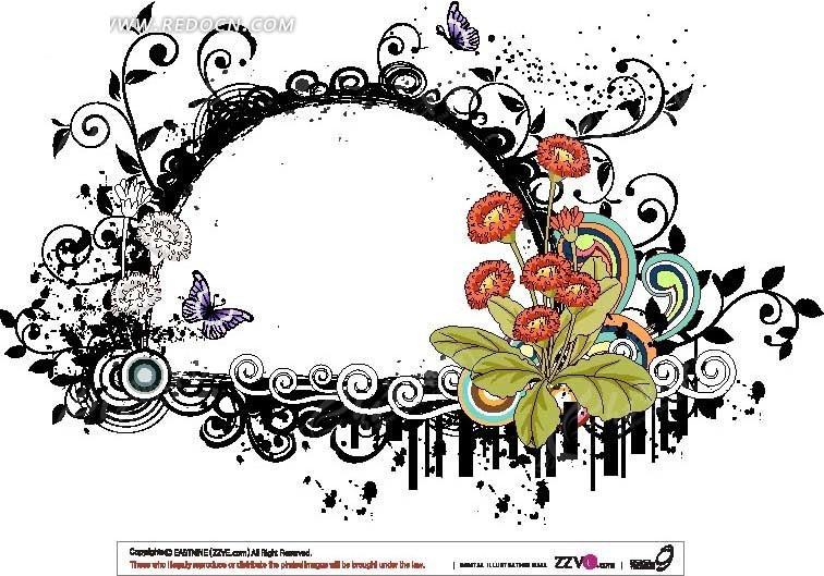 免费素材 矢量素材 花纹边框 花纹花边 花朵藤蔓编织的半圆
