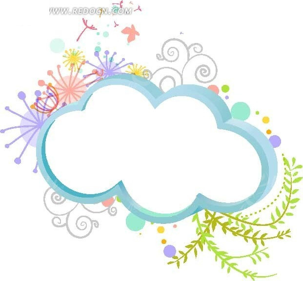 梦幻蓝色云朵形状相框