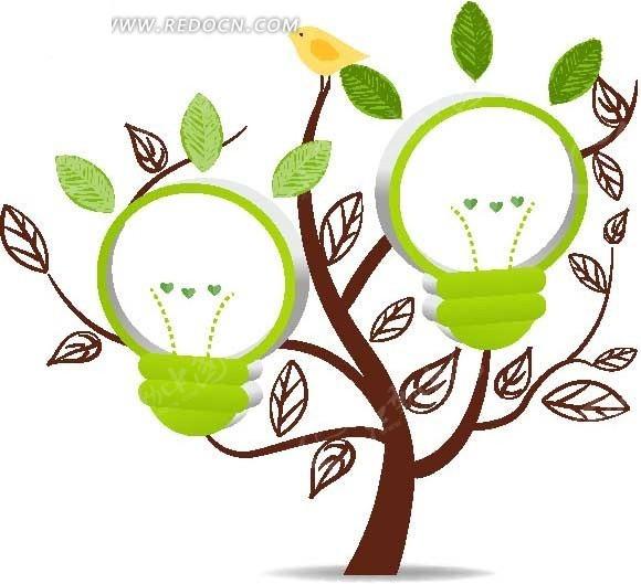 创意绿色灯泡心形相框图片