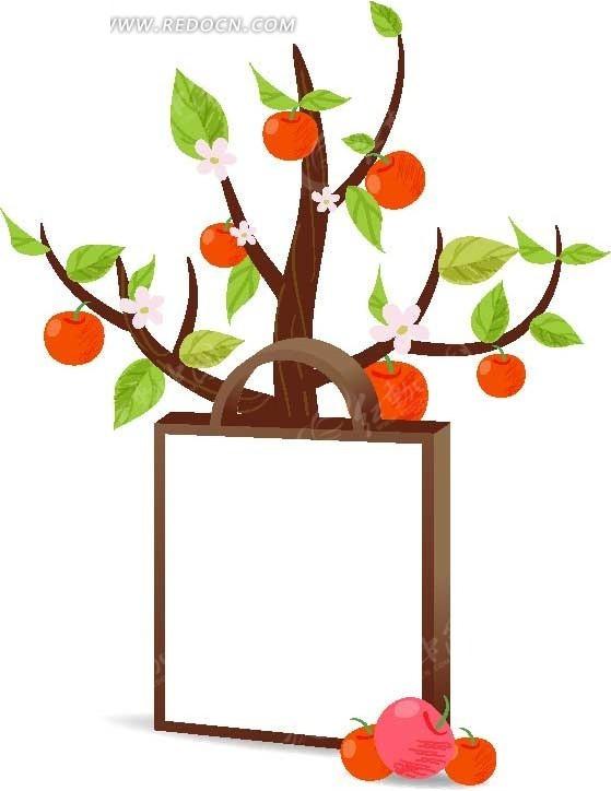 手绘树枝绿叶红柿子白色画板