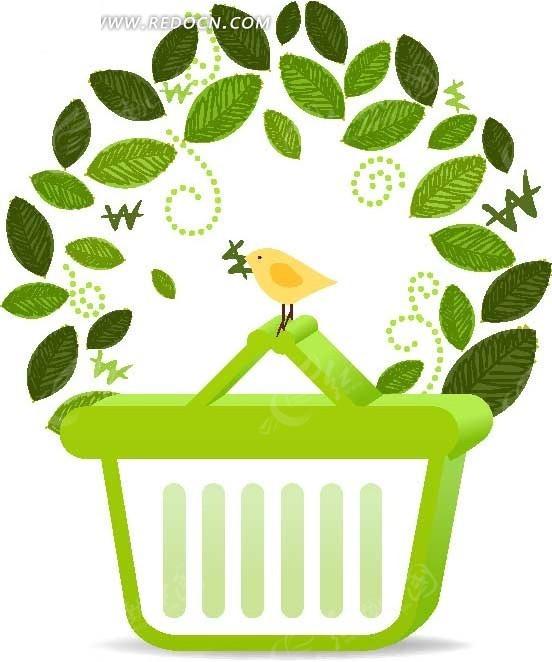 时尚叶子装饰的绿色篮子边框ai免费下载_花纹花边素材