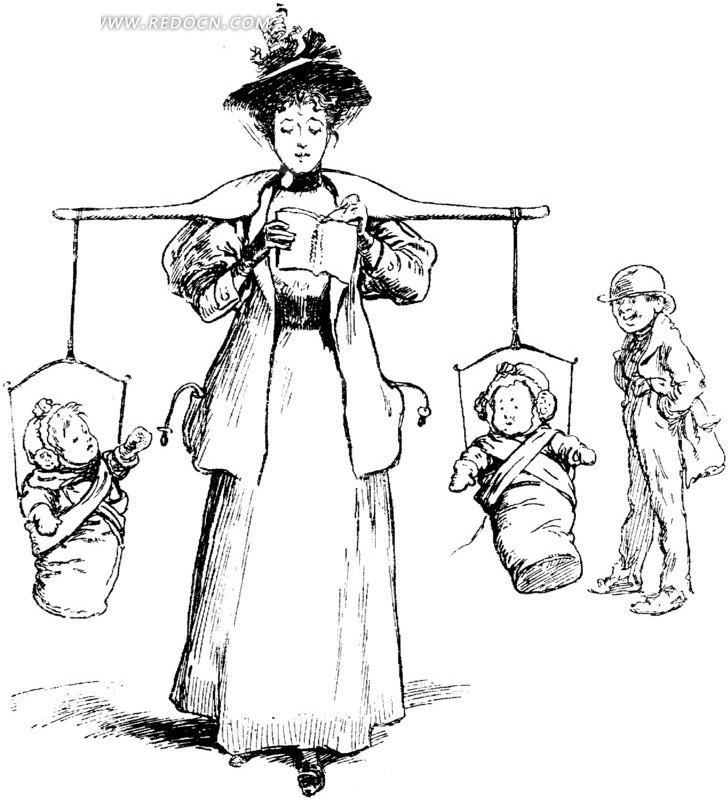 挑小孩看书的妇女线条画