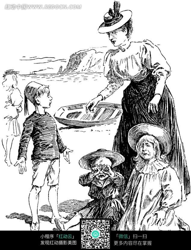 黑白画 小男孩弄两个小女孩哭的场景图片